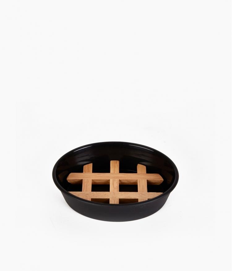 porte savon noir et bois ebonite