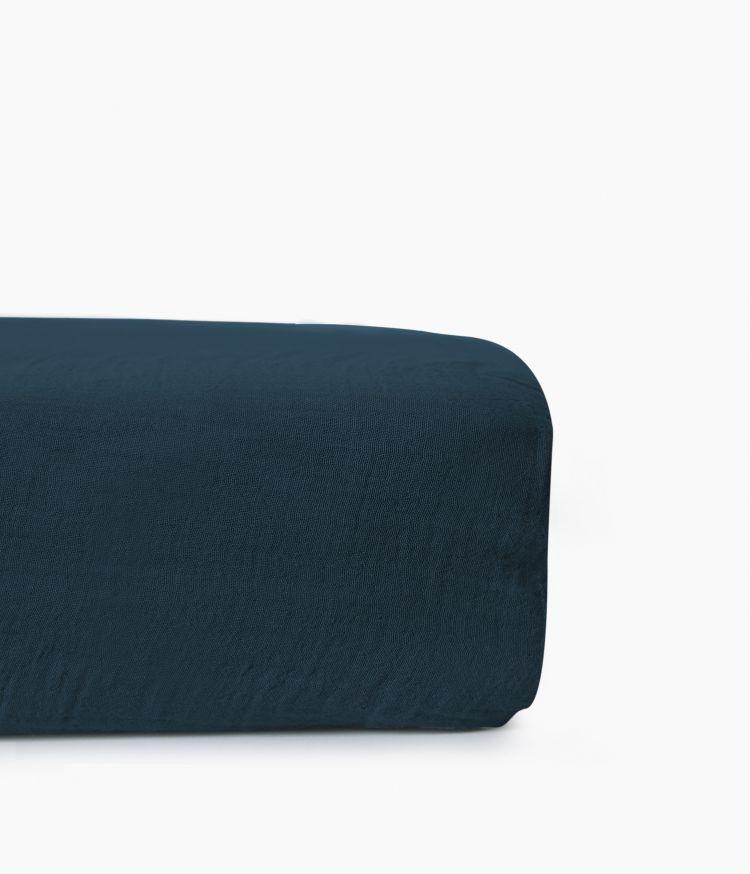 drap housse 160*200 bleu de prusse