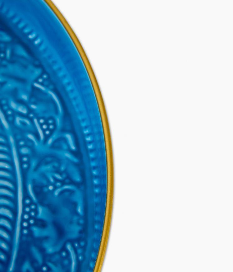 Plateau berbère en métal - Bleu