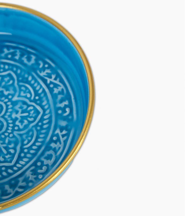 Mini plateau berbère en métal - Bleu