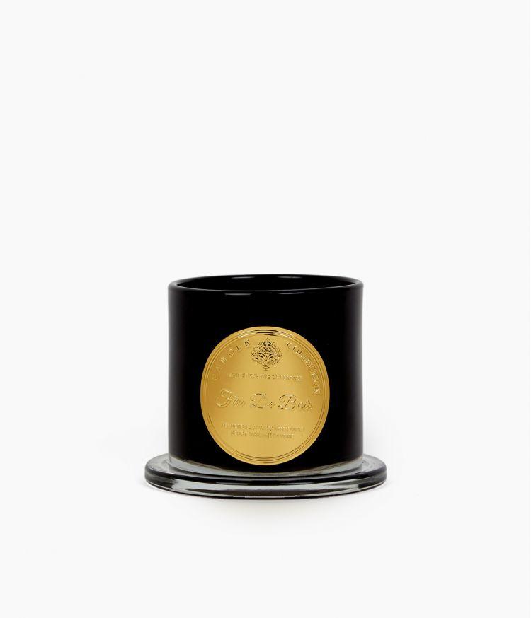 bougie cloche noire pm feu de bois noir