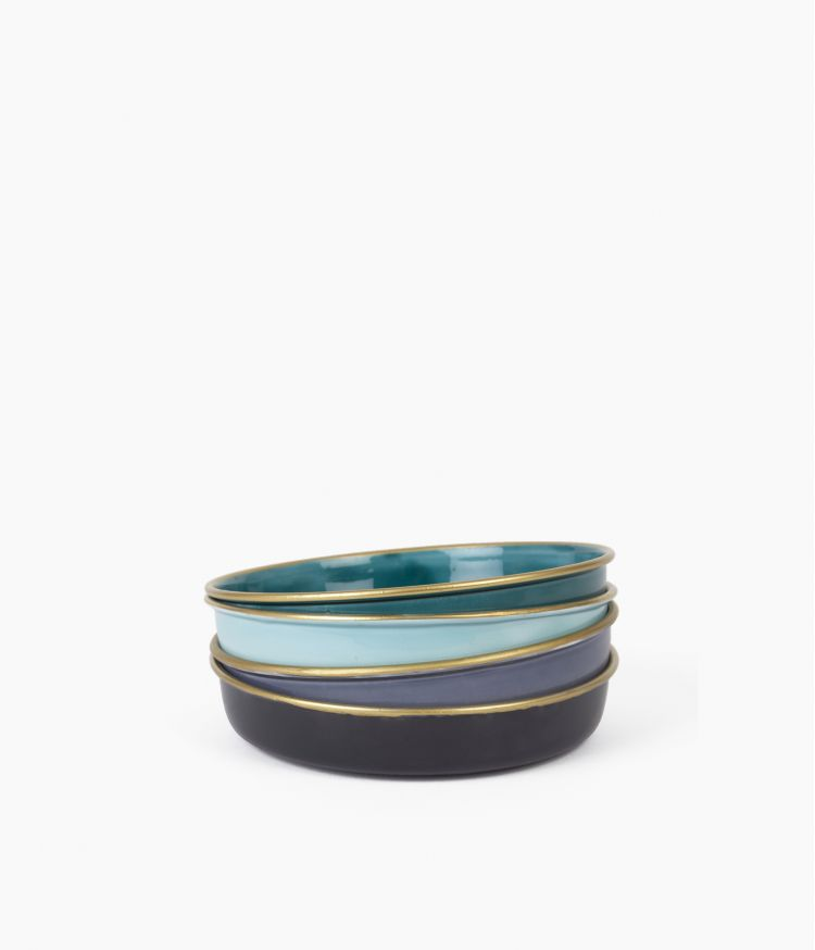 Mini plateau berbère en métal - Bleu clair