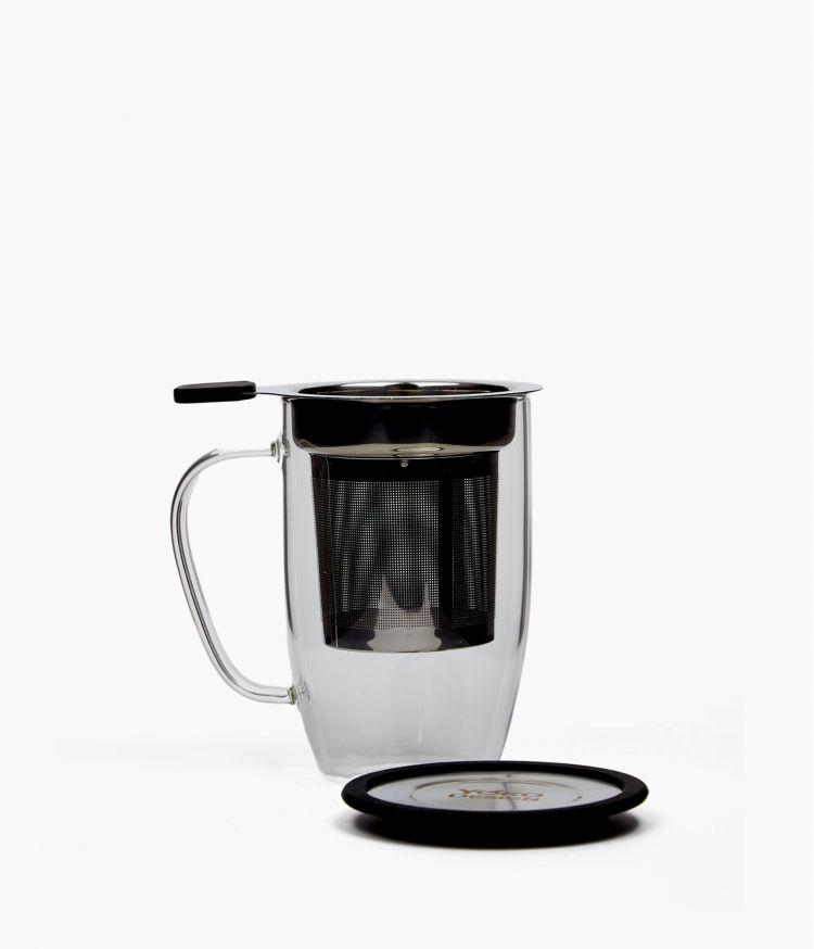 Mug à thé en verre avec filtre amovible