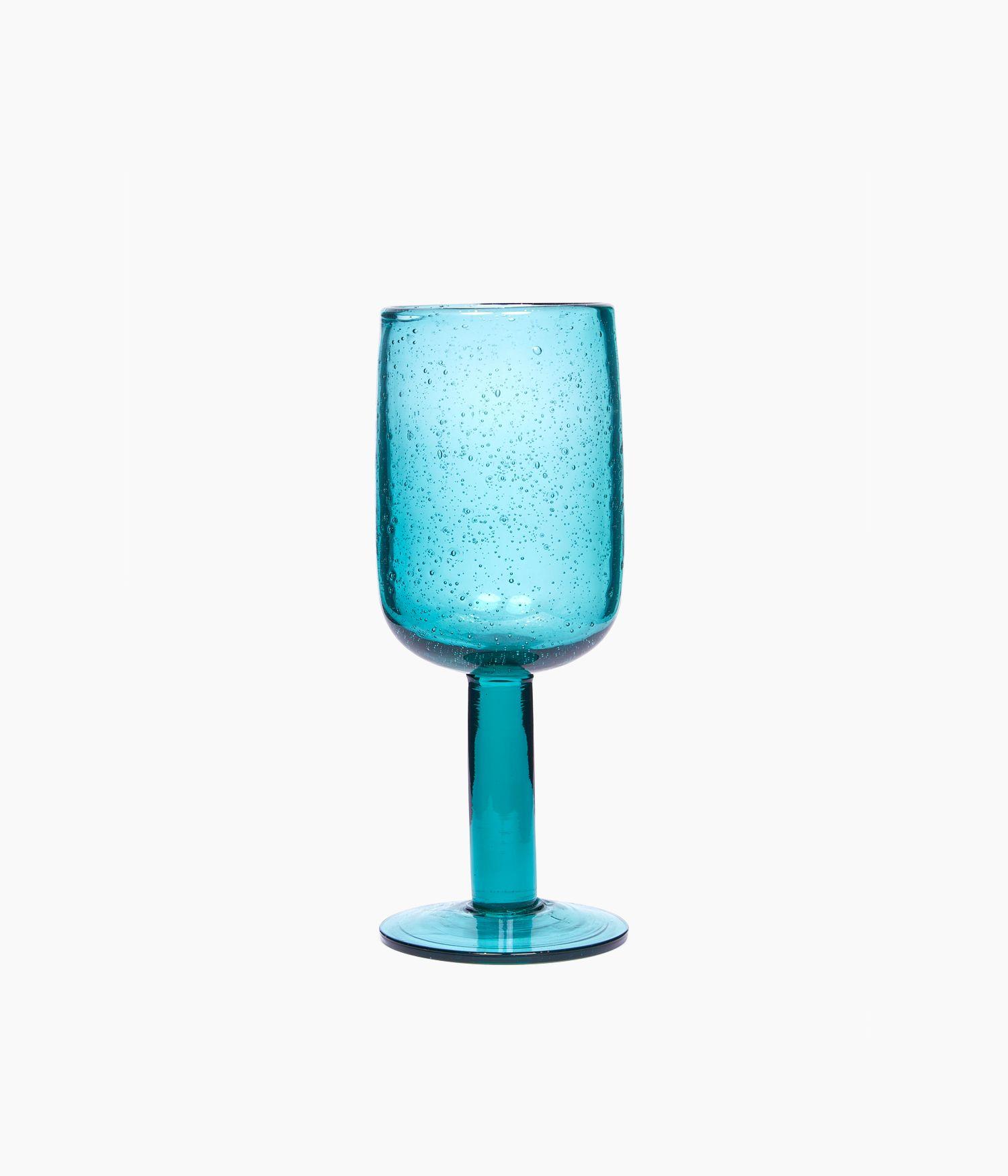 Verre à pied en verre Bleu