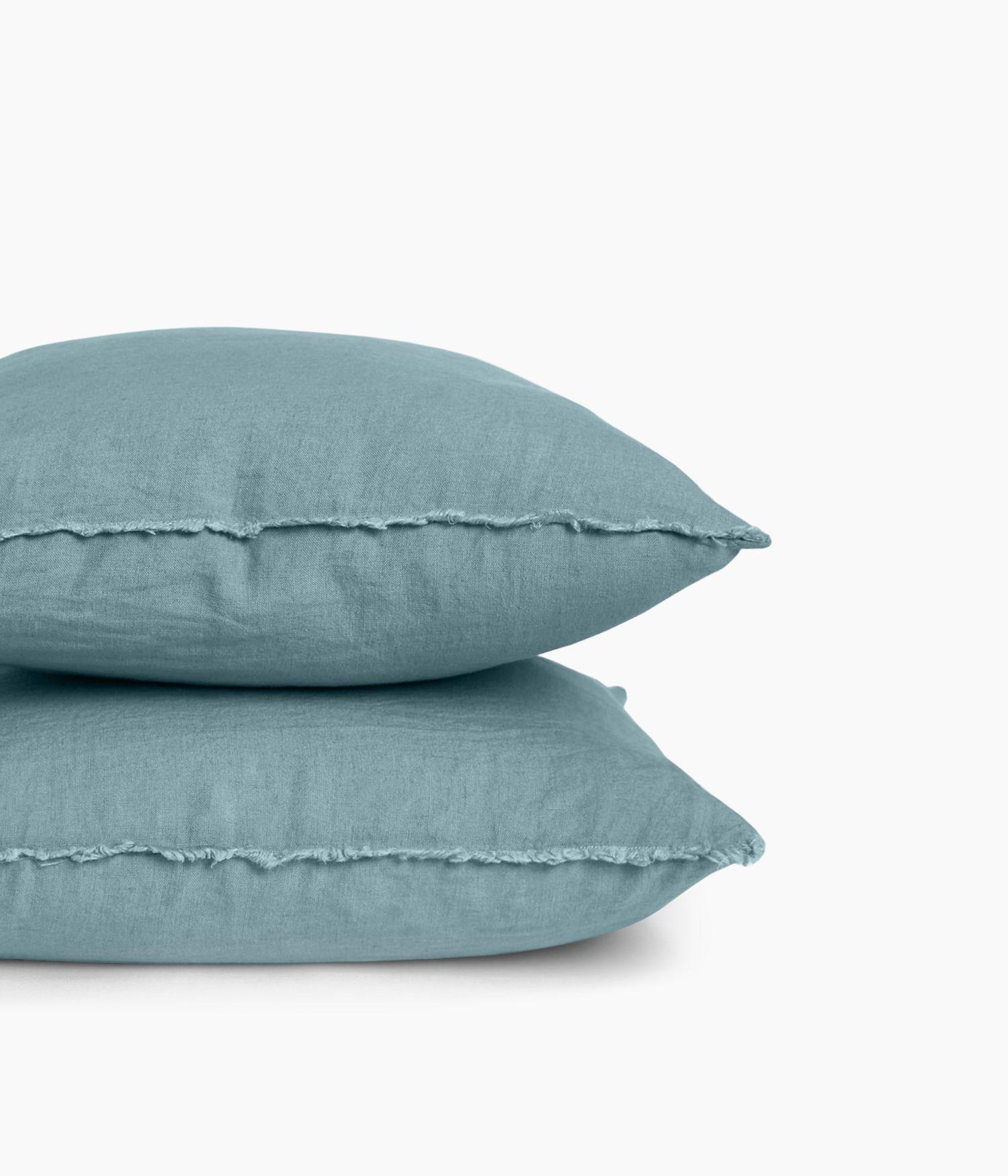 Housse de coussin 45 x 45 cm en Lin lavé - Bleu stone