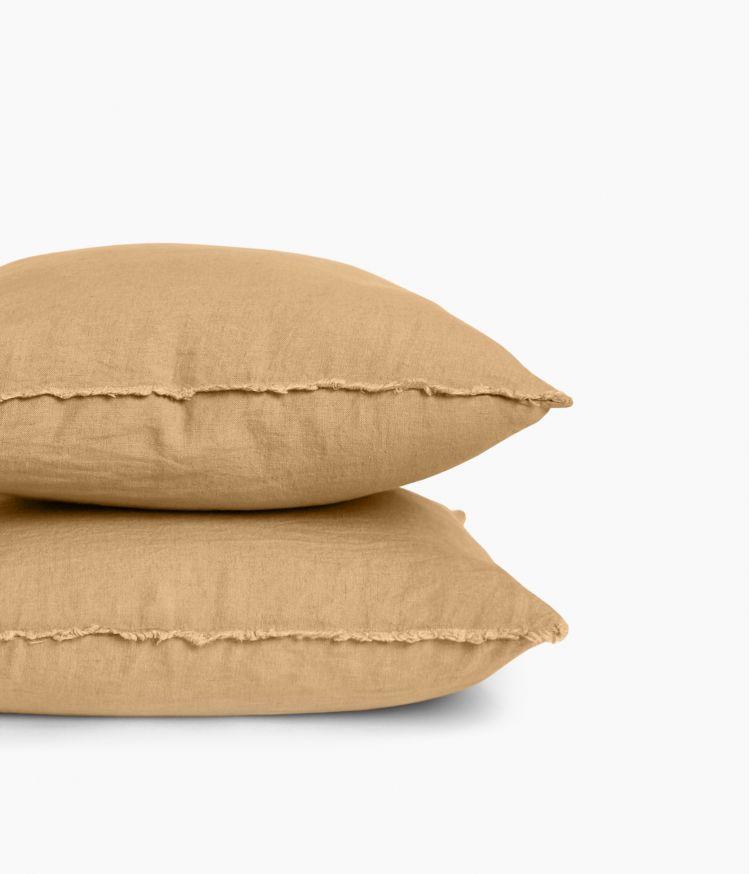 Housse de coussin 45 x 45 cm en Lin lavé - Camel