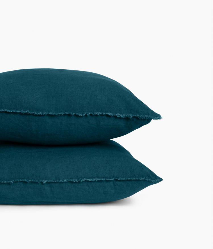 Housse de coussin 45 x 45 cm en Lin lavé - Bleu de Prusse