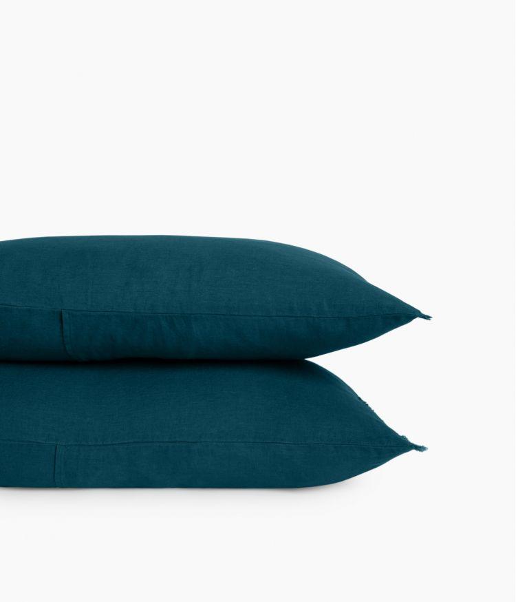 Housse de coussin 40 x 60 cm en Lin lavé - Bleu de Prusse