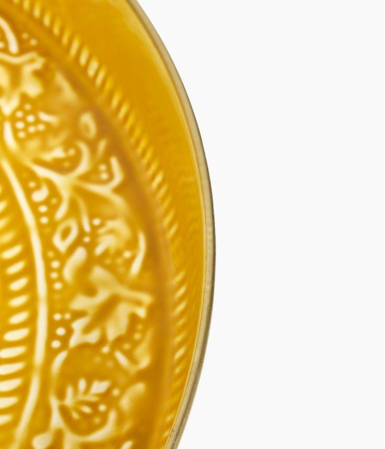 Plateau berbère en métal - Moutarde