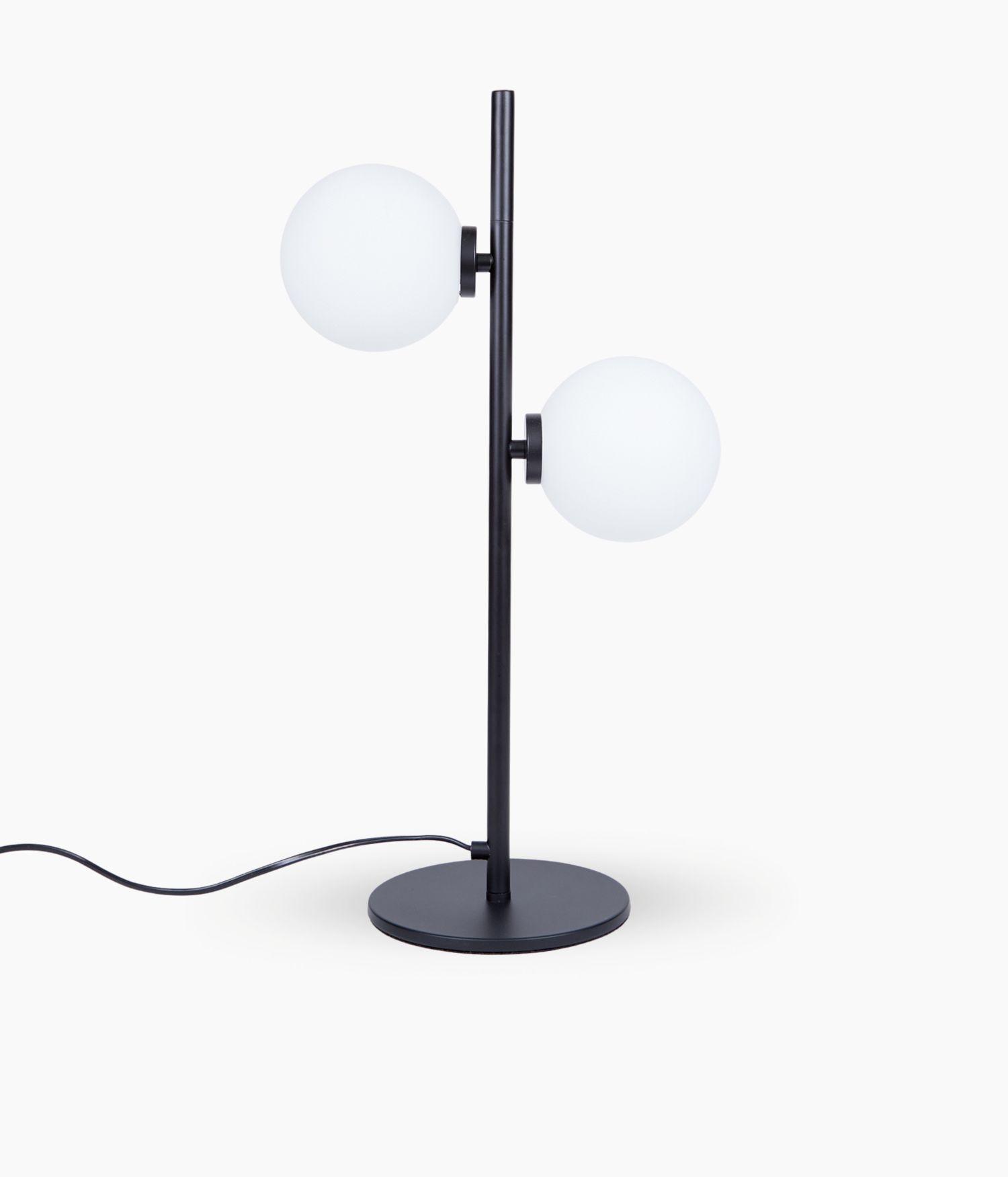 Lampe 2 globes Noire