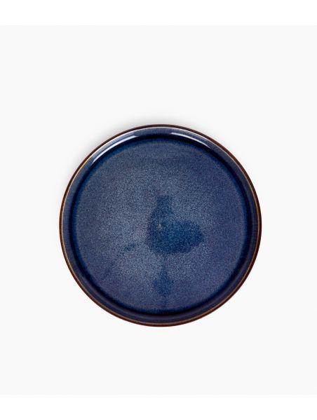 Assiette plate en Grès émaillé bleu