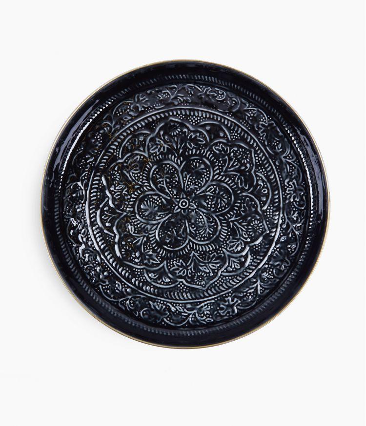 Plateau berbère en métal - Noir