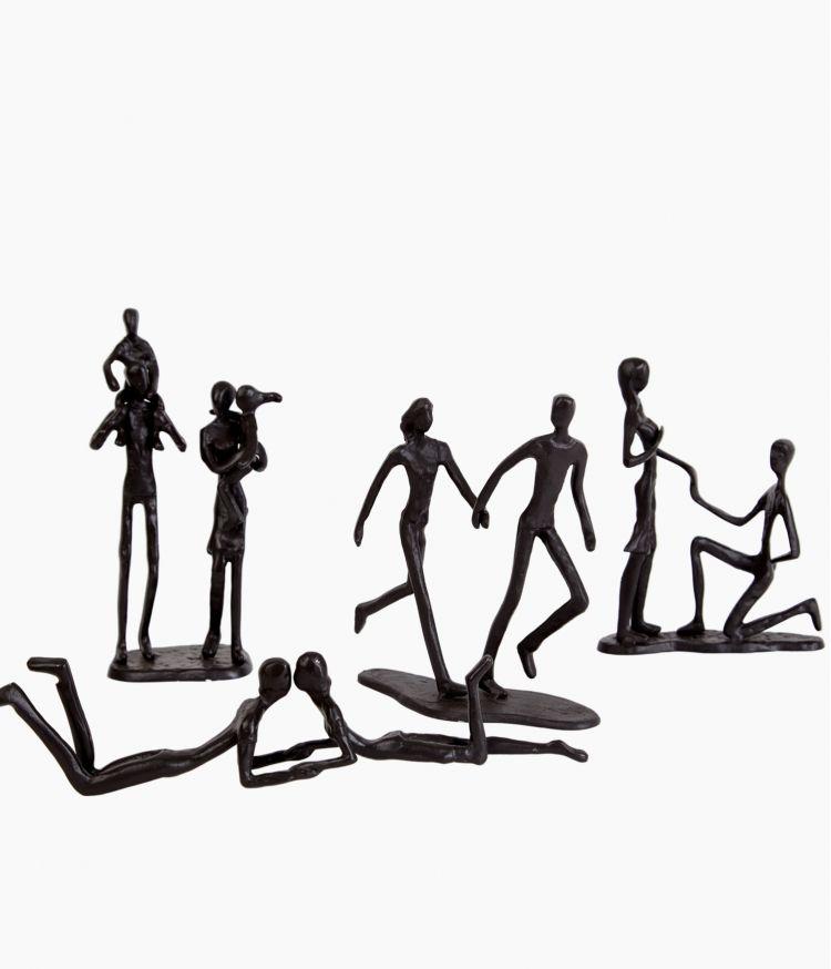 sculpture family fer marron