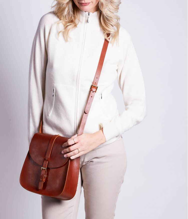 Sac rigide en Cuir Cognac grand