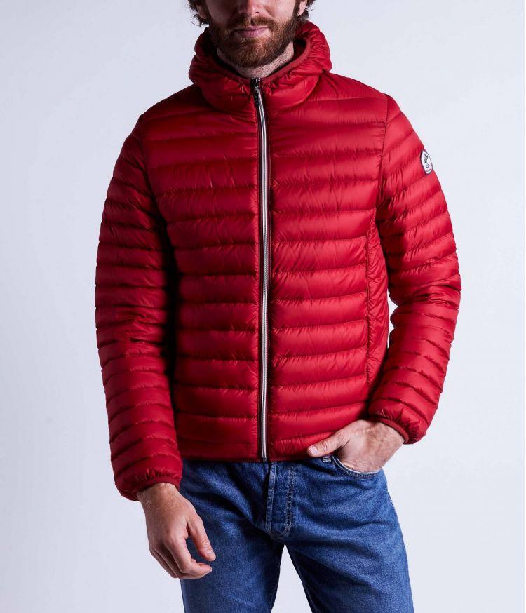 Doudoune manches longues détail zip avec capuche Rouge