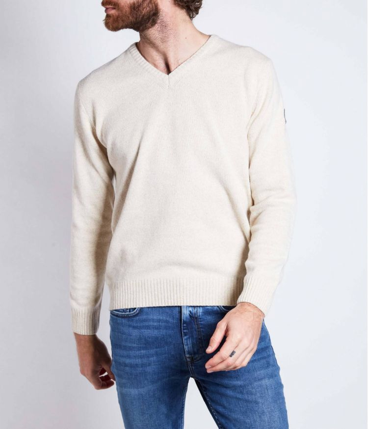 Pull Col V Beige Clair