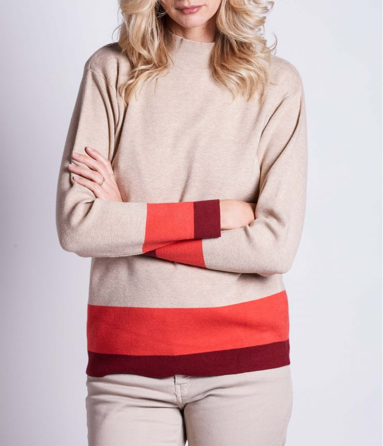 Pull col cheminée Beige