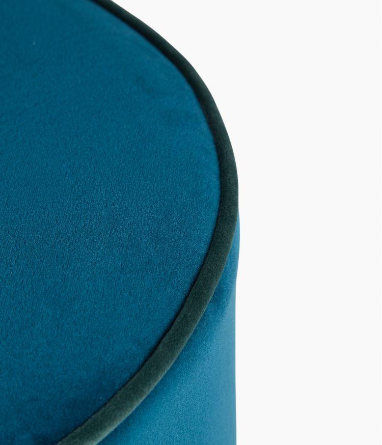 Tabouret Velours Petit Modèle - Bleu Saxo