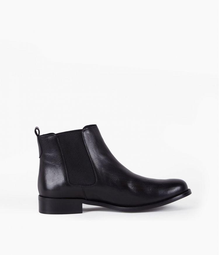 Boots Cuir élastiquées Noir