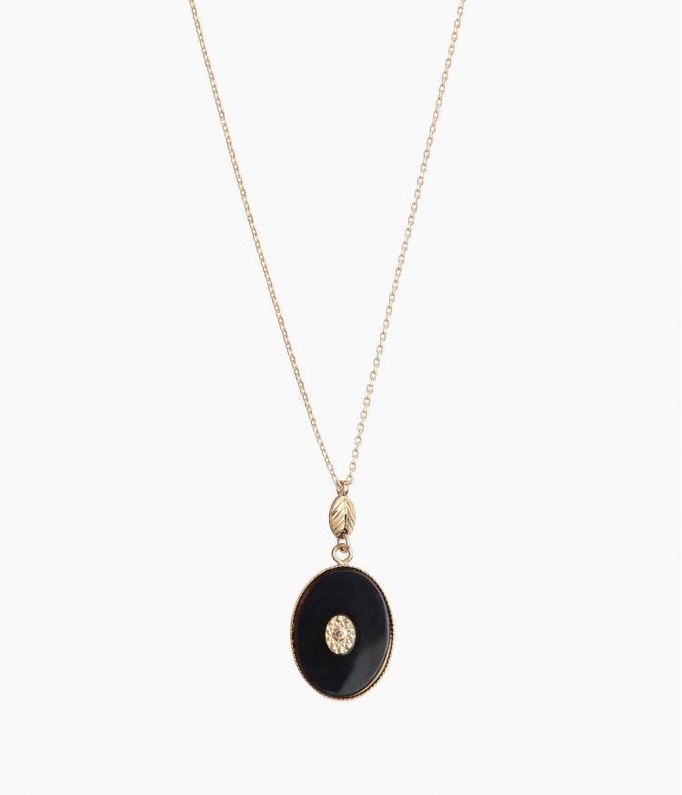 collier alix agate noire ovale