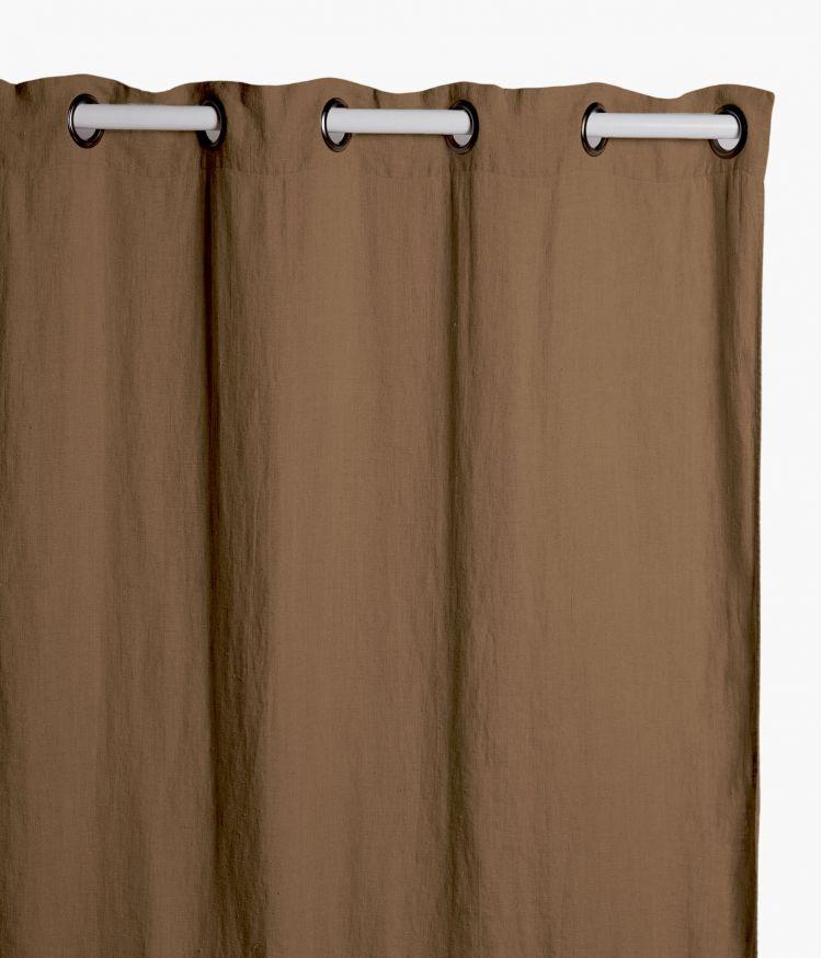 Rideaux 140 x 280 cm  en lin lavé - Tabac