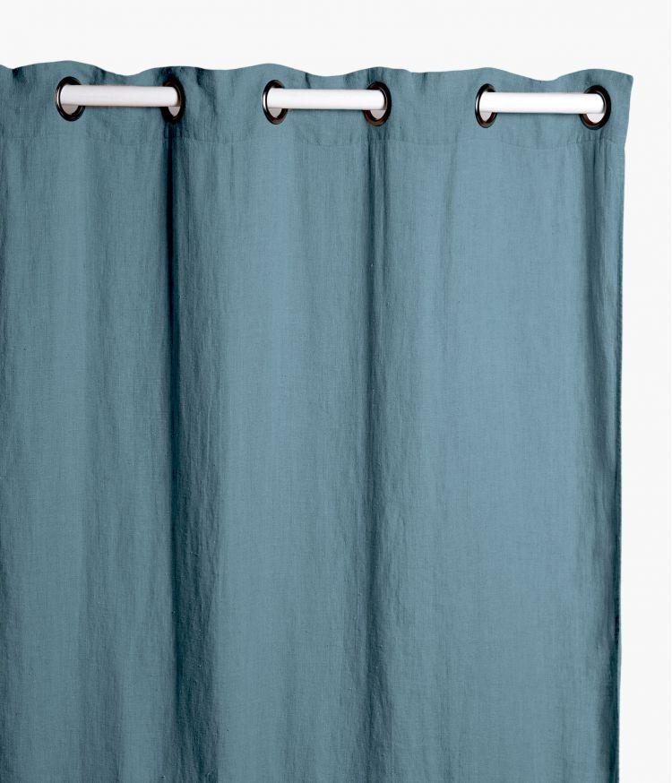 Rideaux 140 x 280 cm  en lin lavé - Bleu stone
