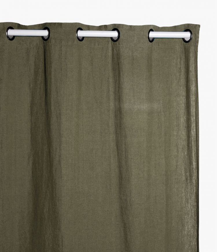 Rideaux 140 x 280 cm  en lin lavé - Kaki