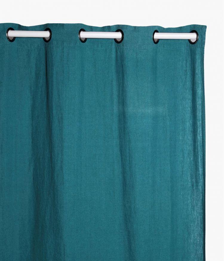 Rideaux 140 x 280 cm  en lin lavé - Paon