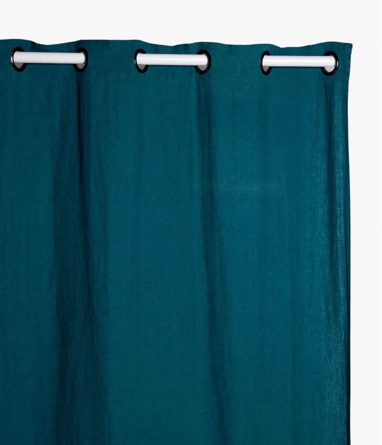 Rideaux 140 x 280 cm  en lin lavé - Bleu de prusse