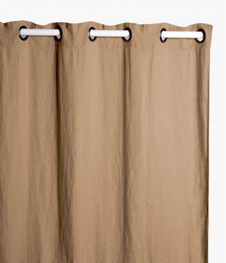 Rideaux 140 x 280 cm  en lin lavé - Camel