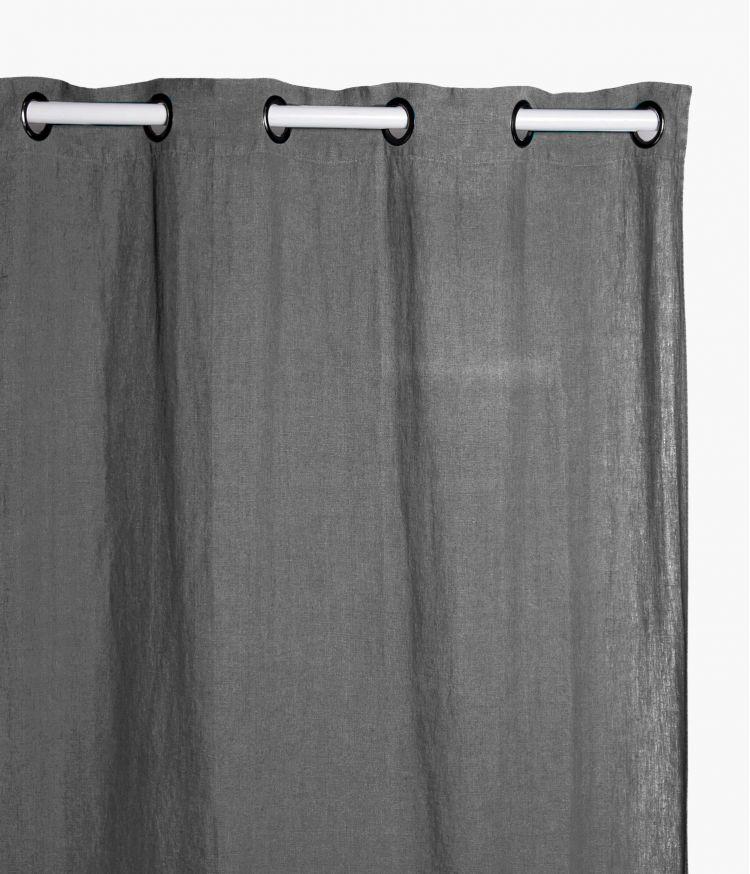 Rideaux 140 x 280 cm  en lin lavé - Charbon
