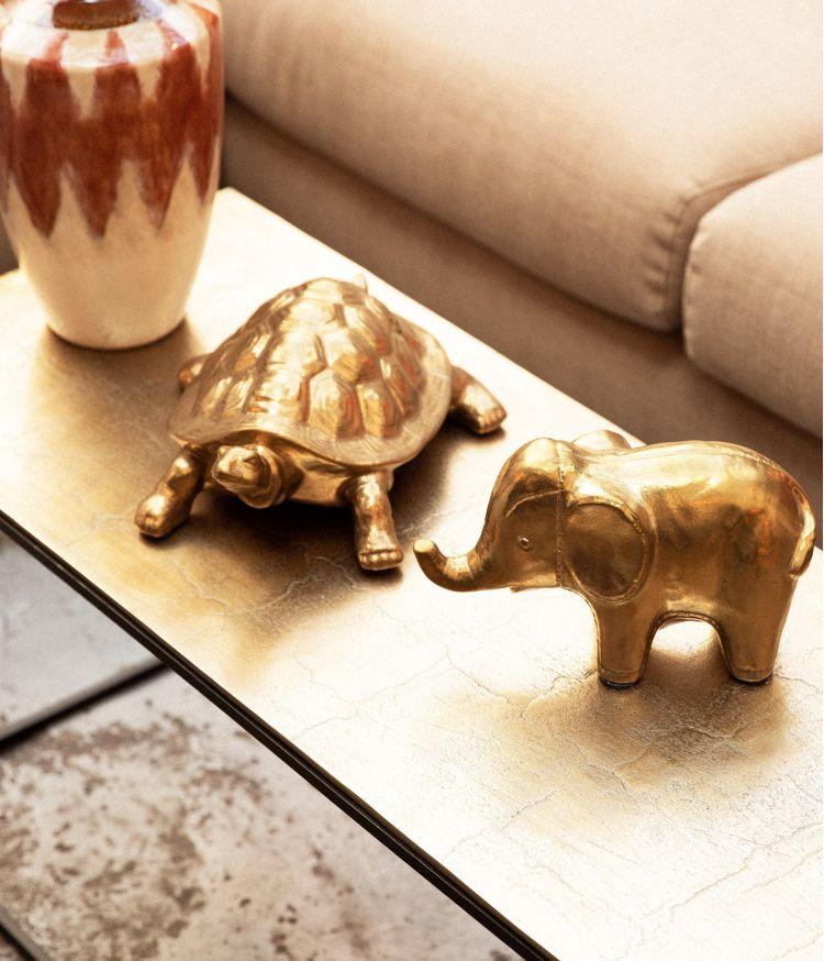 Eléphant patine dorée antique