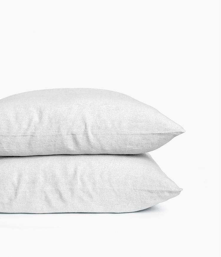 Taie d'oreiller 65 x 65 cm en Lin lavé - Blanc