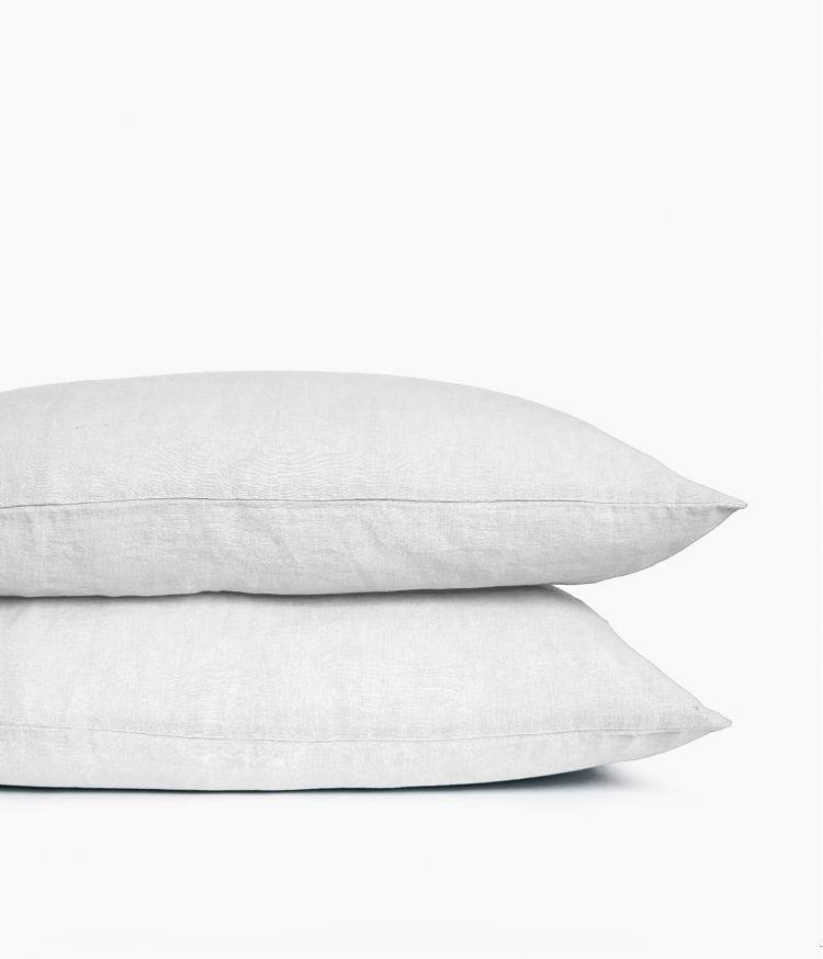 Taie d'oreiller 50 x 70 cm en Lin lavé - Blanc