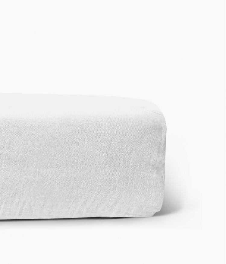 Drap housse 90 x 200 cm en Lin lavé - Blanc