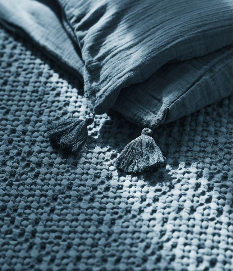 Taie d'édredon 85 x 200 cm en Voile de coton - Bleu de Prusse