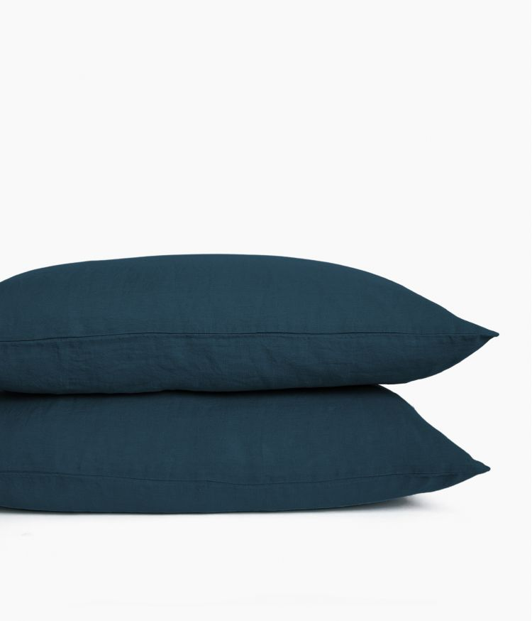 taie oreiller 50*70 bleu de prusse