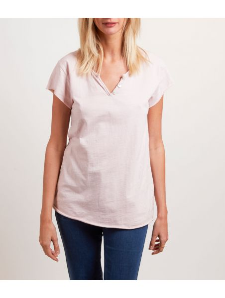 Tee-Shirt Col Tunisien Rose