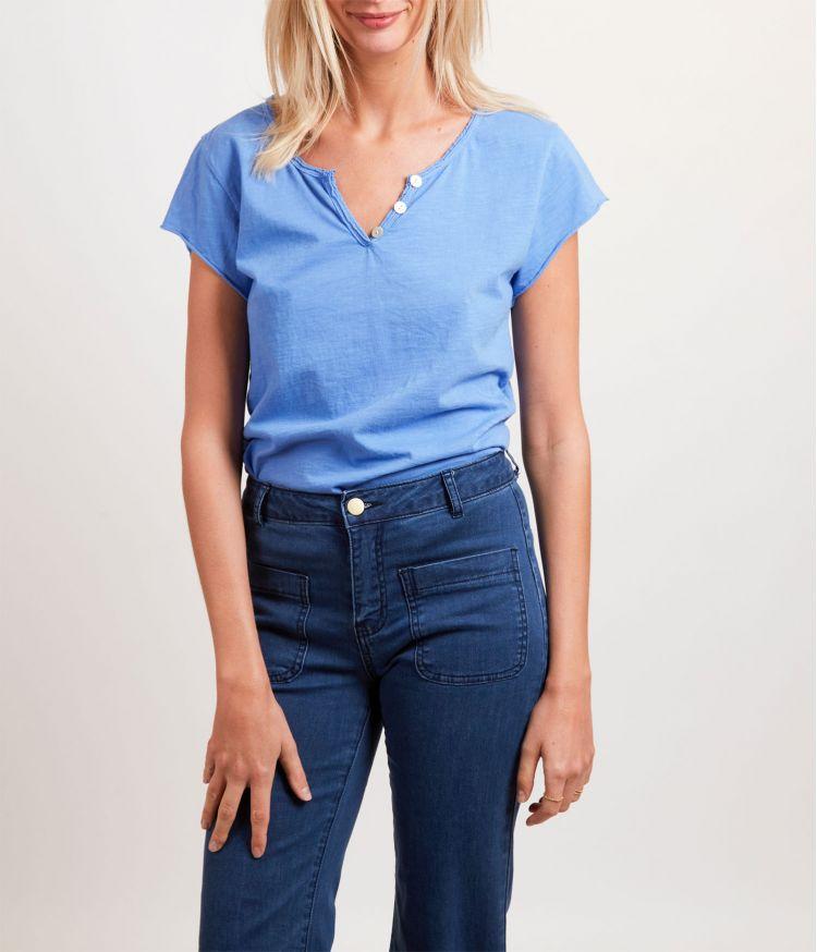Tee-Shirt Col Tunisien Bleu Clair