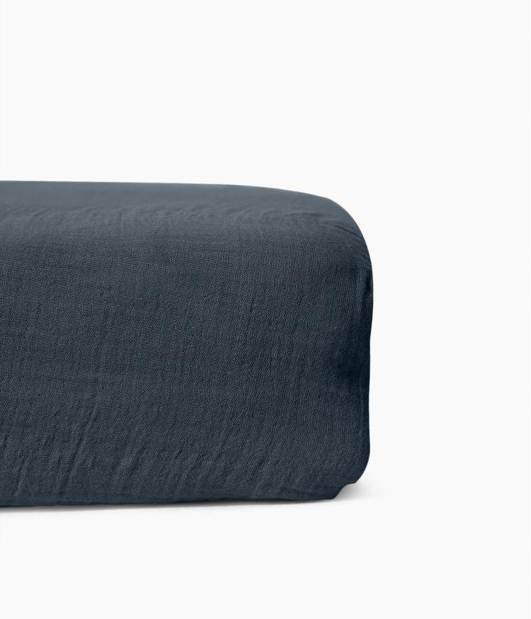 Drap housse 160 x 200 cm en Voile de coton - Denim