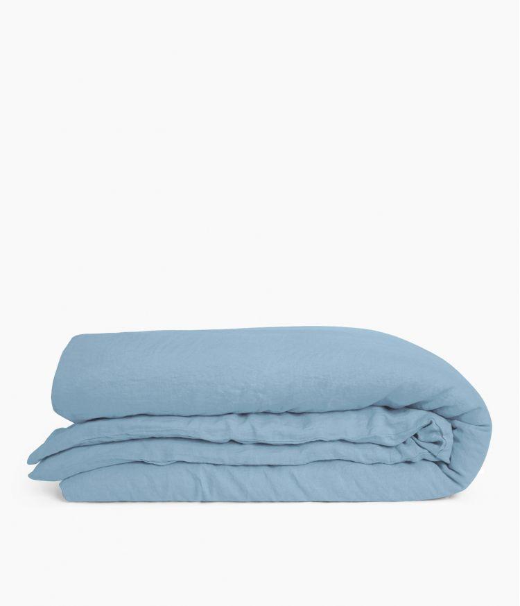 Housse de couette 240 x 220 cm en Lin lavé - Bleu Le Grand Comptoir