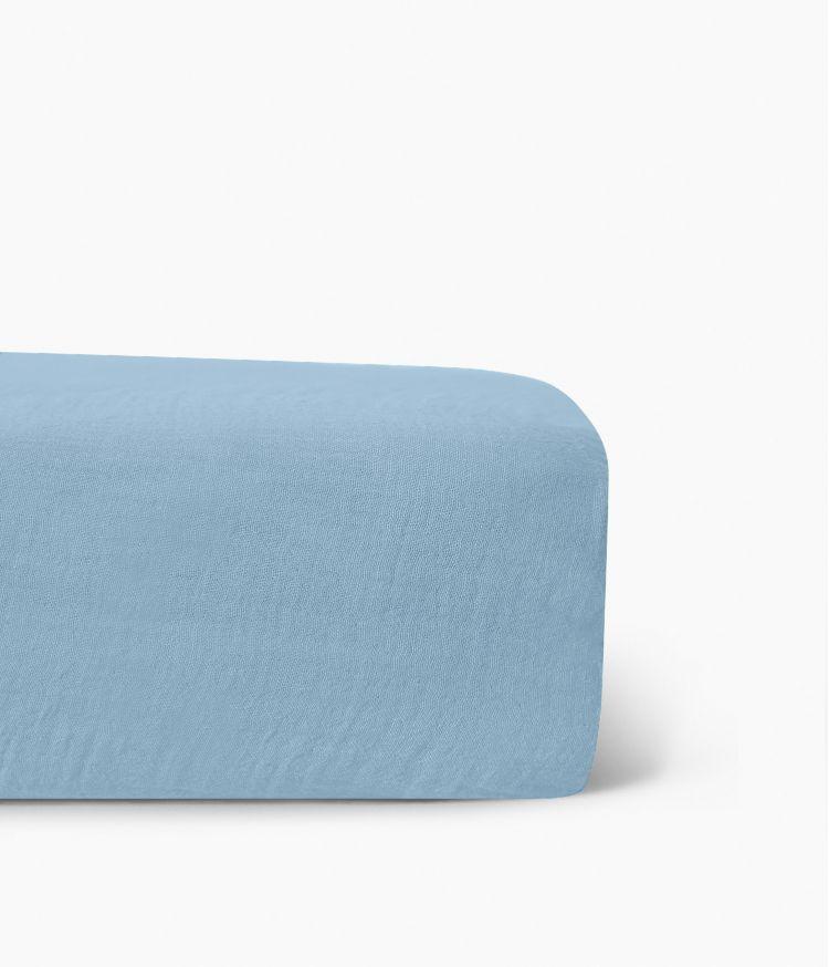 Drap housse 160 x 200 cm en Lin lavé - Bleu Le Grand Comptoir