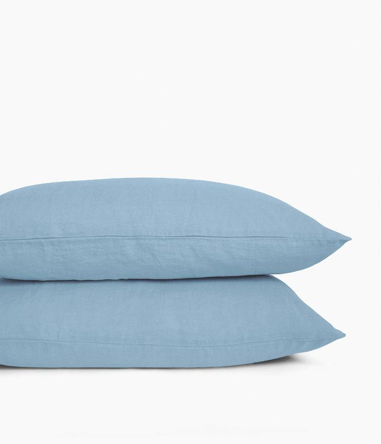 Taie d'oreiller 50 x 70 cm en Lin lavé - Bleu Le Grand Comptoir