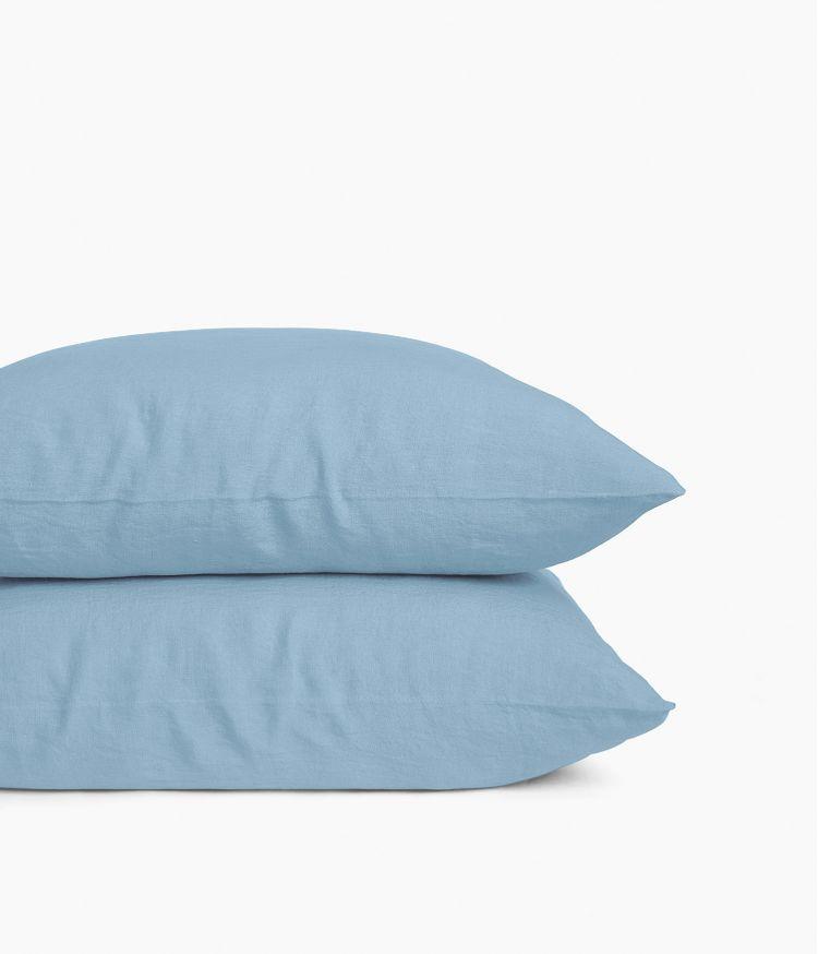 Taie d'oreiller 65 x 65 cm en Lin lavé - Bleu Le Grand Comptoir