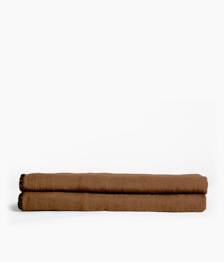 Nappe carrée 170 x 170 cm en Lin lavé - Tabac