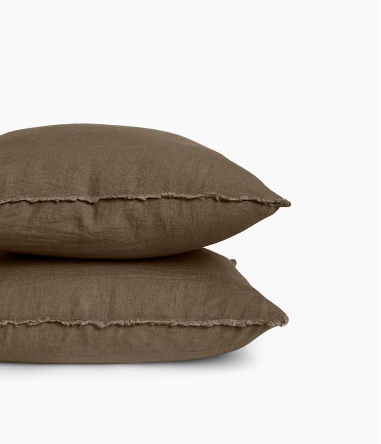 Housse de coussin 45 x 45 cm en Lin lavé - Brownie