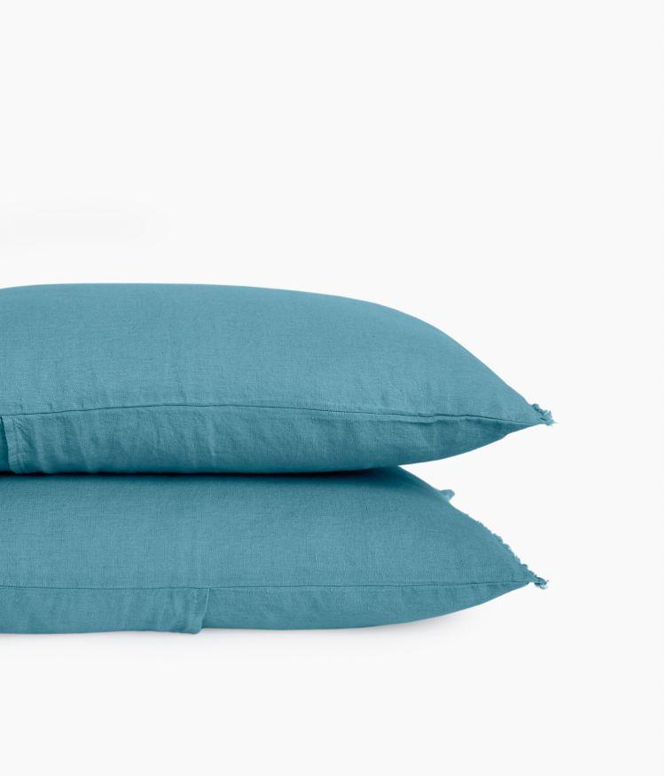 Housse de coussin 40 x 60  cm en Lin lavé - Bleu Le Grand Comptoir