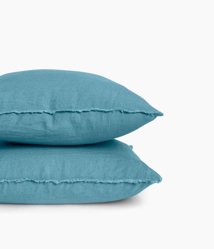 Housse de coussin 45 x 45 cm en Lin lavé - Bleu Le Grand Comptoir