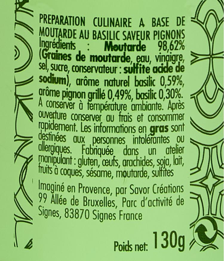 moutarde basilic et pignon