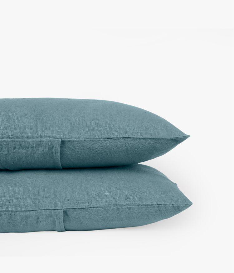 Housse de coussin 40 x 60 cm en Lin lavé - Bleu stone